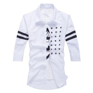 Fashion Shirt Collar Slimming Five-Point Star Stripe Print Half Sleeve Cotton Blend Shirt For Men - WHITE M