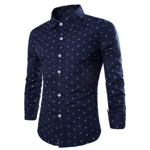 Western Style Turn-down Collar Anchor Print Slimming Long Sleeves Men's Cotton Blend Shirt - Deep Blue - Xl