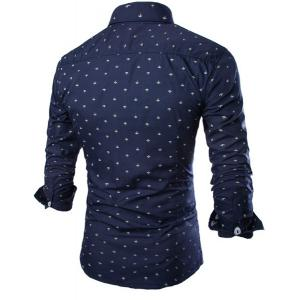 Western Style Turn-down Collar Anchor Print Slimming Long Sleeves Men's Cotton Blend Shirt -