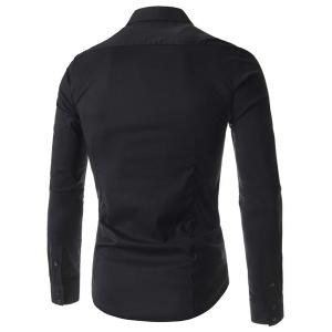 Stylish Fitted Turn-down Collar Beads Embellished Long Sleeves Men's Cotton Blend Shirt -