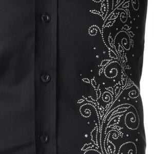 Refreshing Fitted Turn-down Collar Beads Embellished Long Sleeves Men's Cotton Blend Shirt - BLACK L