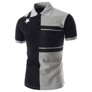 Personality Color Splicing Turn-down Collar Fitted Short Sleeves Men's Polyester Polo T-Shirt - Xl