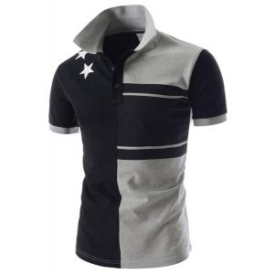 Personality Color Splicing Turn-down Collar Fitted Short Sleeves Men's Polyester Polo T-Shirt -