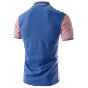 Two Tone Graphic Polo T-Shirt - BLUE AND PINK 2XL