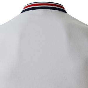 Refreshing Turn-down Collar Stripes Splicing Fitted Short Sleeves Men's Polyester Polo T-Shirt - WHITE M