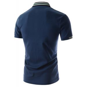 Refreshing Turn-down Collar Stripes Splicing Fitted Short Sleeves Men's Polyester Polo T-Shirt - BLUE 2XL