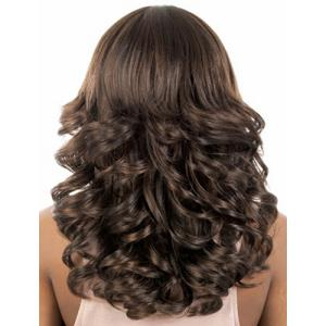 Fashion Fluffy Full Bang Brown Mixed Charming Long Curly Synthetic Capless Wig For Women -