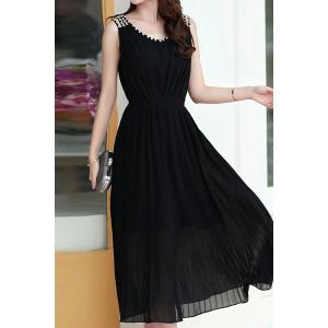 Ladylike V-Neck Pure Color Sleeveless Dress For Women