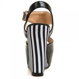 Stylish Striped and Peep Toe Design Women's Wedge Sandals -