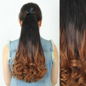 Trendy Fluffy Long Wavy Black Ombre Charming Heat Resistant Synthetic Ponytail For Women - Light Brown