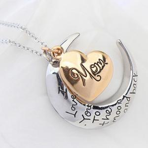 Moon Heart Engraved Pendant Necklace -