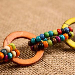 Bohemian Style Women's Cut Out Circular Ring Wooden Beads Embellished Waist Rope -