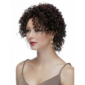 Highlights Synthetic Hair None Bang  Attractive Stylish Capless Women's Short Curly Afro Wig -
