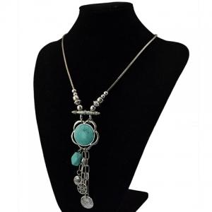 Fashionable Turquoise Decorated Coin Shape Floral Necklace For Women - SILVER/BLUE