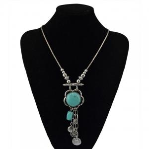 Fashionable Turquoise Decorated Coin Shape Floral Necklace For Women