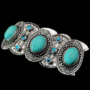 Fake Turquoise Decorated Oval Shape Bracelet - SILVER