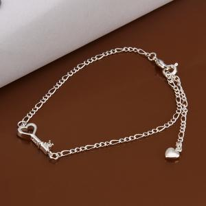 Chic Key Spliced Solid Color Hollow Out Anklet - White