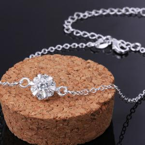Classic Round Rhinestone Hollow Out Solid Color Fancy Anklets - WHITE