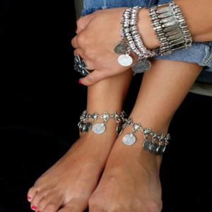 Stylish Coin Shape Tassels Belly Dance Anklet - SILVER