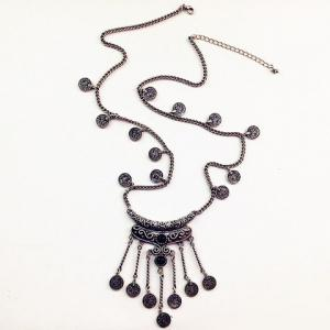 Retro Fringed Coin Shape Necklace