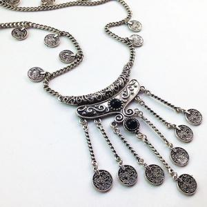 Retro Fringed Coin Shape Necklace -