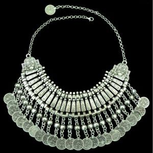 Ethnic Multilayered Coin Shape Fringed Necklace - SILVER GRAY