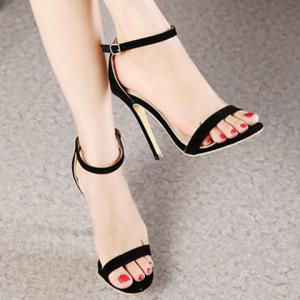 Suede Ankle Strap Stiletto High Heel Sandals -