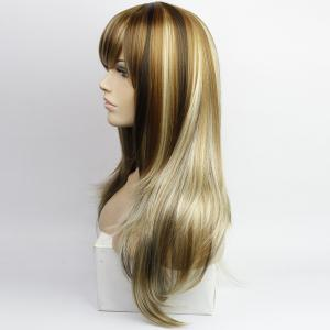 Western Style Side Bang Layered Long Wavy Mixed Color Synthetic Hair Women's Capless Wig - COLORMIX