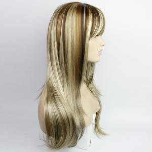 Western Style Side Bang Layered Long Wavy Mixed Color Synthetic Hair Women's Capless Wig -