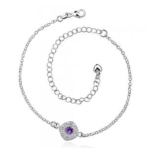 Stylish Rhinestone Spliced Printed Anklet - Purple