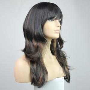 Chic Fluffy Natural Wavy Heat-Resisant Side Bang Mixed Color Charming Women's Synthetic Hair Wig -