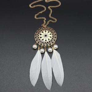 Vintage Faux Pearl Decorated Feather and Flower Shape Necklace For Women