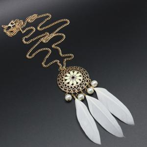 Vintage Faux Pearl Decorated Feather and Flower Shape Necklace For Women - WHITE
