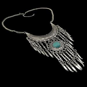 Bohemia Turquoise Crescent Necklace For Women - SILVER AND BLUE