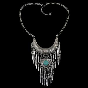 Bohemia Turquoise Crescent Necklace For Women - SILVER/BLUE