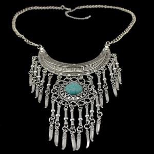 Bohemia Turquoise Crescent Necklace For Women -