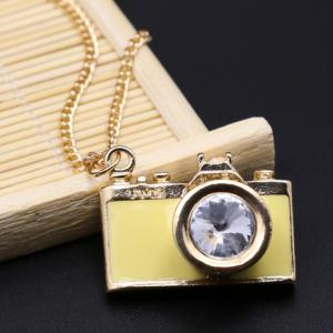 Classic Camera Shape Letter Printed Pendant Necklace For Women -