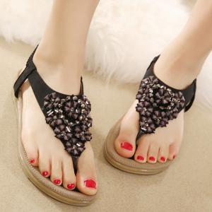 Trendy Rivets and Flower Design Women's Sandals -