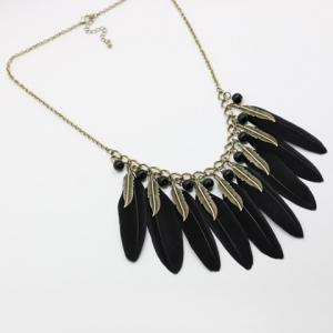 Chic Beads Leaf Feather Necklace For Women - BLACK AND GOLDEN
