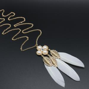 Leaf Faux Pearl Feather Pendant Sweater Chain -
