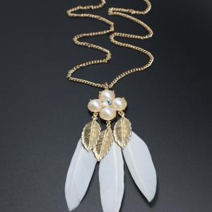 Leaf Faux Pearl Feather Pendant Sweater Chain - WHITE/GOLDEN