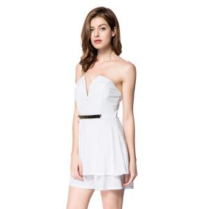 Alluring Strapless Sleeveless Low Cut Flounced Women's Romper -