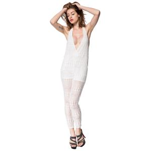 Sexy Halter Sleeveless Solid Color Backless Women's Jumpsuit -