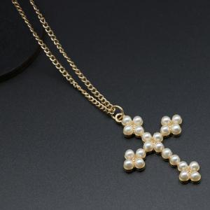 Faux Pearl Cross Sweater Chain Necklace - WHITE/GOLDEN