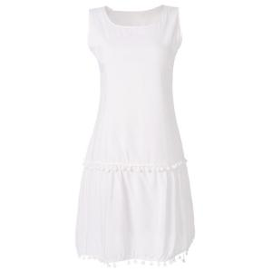 Simple Scoop Collar Sleeveless Solid Color Fringe Design Women's Dress - White - Xl
