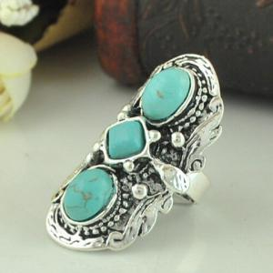 Retro Turquoise Decorated Ring For Women - Green - One-size