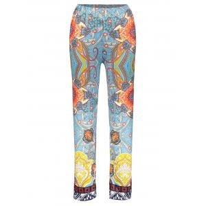 Retro Style Elastic Waist Floral Print Exumas Pants For Women
