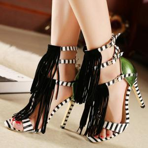 Fashion Fringe and Color Block Design Women's Sandals -