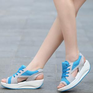 Stylish Color Block and Peep Toe Design Women's Sandals -