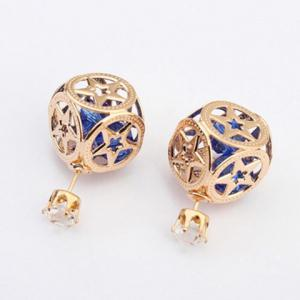 Pair of Stylish Rhinestone Hollow Out Star Square Earrings For Women